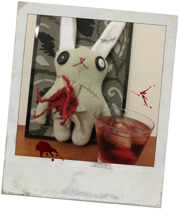 Nigel the zombunny hoped that was a glass of blood in front of him. He just didn't have the stomach for a Negroni.
